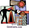 Vector Clip Art graphic  of a Man looking through telescope