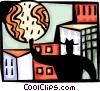 Vector Clip Art graphic  of a Man overlooking city with moon