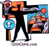 Vector Clip Art picture  of a Police officer directing