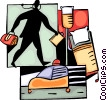 Doctor with ambulance and stretcher Vector Clip Art picture