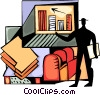 Vector Clipart illustration  of a Businessman charting success