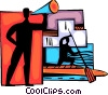 Coach encouraging Kayaker Vector Clip Art graphic