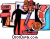 Vector Clip Art graphic  of a Cameraman filming movie