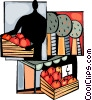 Farmer with crate of apples Vector Clipart image