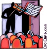 Violinists practicing before the show Vector Clip Art graphic