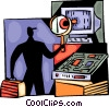 Vector Clipart image  of a Computer technician with