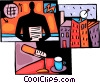 News broadcaster with microphone and coffee Vector Clipart illustration