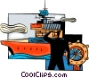 Captain at wheel of aircraft carrier Vector Clip Art picture