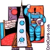Vector Clip Art picture  of an Astronaut waving with rocket
