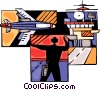 Air force personnel directing fighter jet Vector Clip Art picture