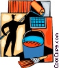 Man painting with roller and paint can and brush Vector Clipart illustration