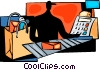 Vector Clipart illustration  of a Cashier at grocery store