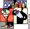 Bartender making martini Vector Clipart picture
