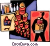 Grocery clerk stacking soup cans Vector Clip Art image