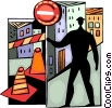 Road Crew with sign and barriers Vector Clip Art picture