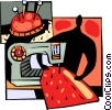 Vector Clipart graphic  of a Seamstress sewing garment