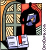 Vector Clipart graphic  of a Minister with bible