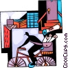 Vector Clip Art image  of a Paperboy delivering newspapers