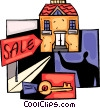 Vector Clip Art graphic  of a Real Estate agent selling home
