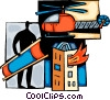 Rescue worker with stretcher Vector Clipart picture