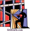 Worker welding steel frame Vector Clipart picture