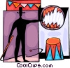 Circus performer with flaming hoop Vector Clipart illustration