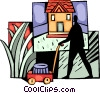 Vector Clip Art image  of a Man cutting the lawn at his