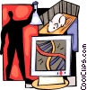 Scientist doing research with mouse Vector Clip Art image