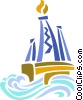 Vector Clip Art graphic  of a Offshore oil drilling platform