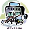 Vector Clip Art graphic  of a Tow truck driver loading car