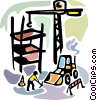 Construction worker crane earth moving equipment Vector Clip Art graphic