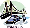 Vector Clipart graphic  of a Police officer by bridge on his two way