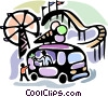 Ice cream vendor with amusement park Vector Clipart illustration