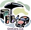 Gas station attendant filling car Vector Clipart picture