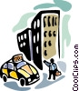 Person hailing taxi cab Vector Clipart graphic