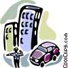 Police officer directing traffic Vector Clipart illustration