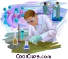 Scientists and Researchers with beakers Vector Clipart picture