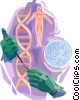 Hands with pipette and DNA strand Vector Clip Art picture