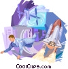 Astronaut floating in space with space shuttle Vector Clip Art graphic