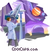 Man looking through telescope at planets Vector Clipart image
