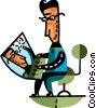 Man working on his notebook computer Vector Clipart image