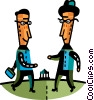 Vector Clipart picture  of a Businessmen greeting each