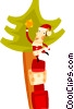 Vector Clip Art graphic  of a Santa placing a star on the