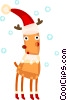 Vector Clip Art graphic  of a Reindeer wearing Santa's hat