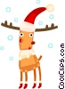 Vector Clipart picture  of a Reindeer wearing Santa's hat