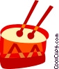 Vector Clipart illustration  of a Drum with drum sticks