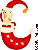 Santa in a stocking Vector Clipart illustration