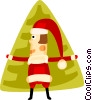 Vector Clipart illustration  of a Santa and a Christmas tree