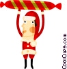 Vector Clipart graphic  of a Santa and a candy cane