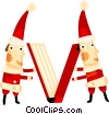 Elves closing a book Vector Clip Art graphic